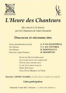 L'heure des Chanteurs – dimanche 18 décembre 2016 (16h)